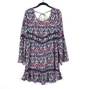 Band of Gypsies Floral Tie Back Bell Sleeve Dress